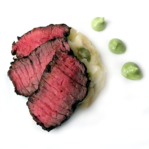 Spice Rubbed Bison, Jalapeño Cheddar Mashed Potatoes, Avocado Mousse