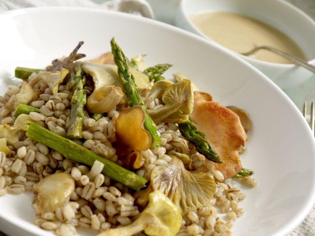 Roast Asparagus, Oyster Mushroom and Pearl Barley Salad with a Tahini ...