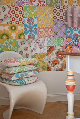 fabric wall -- Why not use Fabric Mod Podge to adhere a patchwork of fabric?
