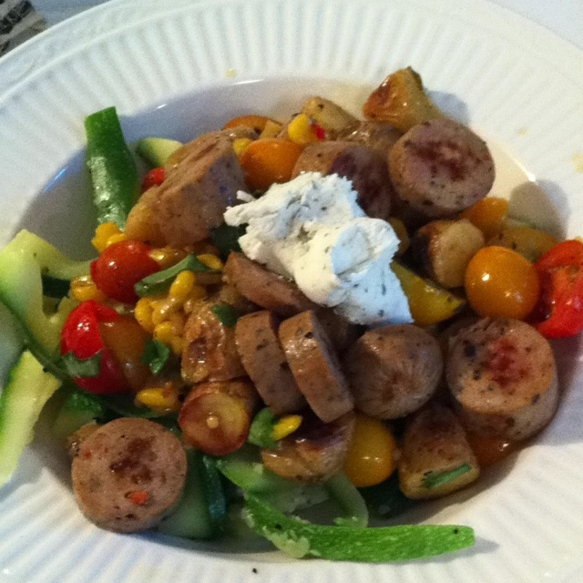 ... , corn salsa, and a dollop of herbed goat cheese. So easy, so good