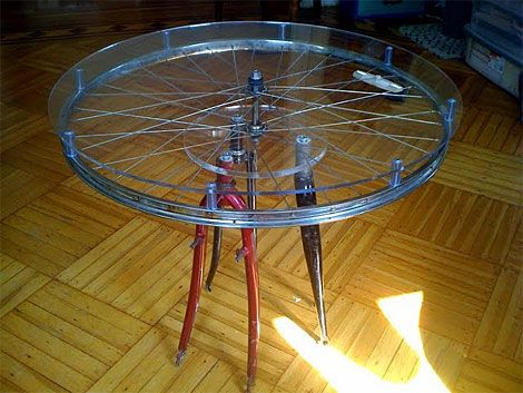 Diy turn old bike parts into a table home projects for Bicycle wheel table