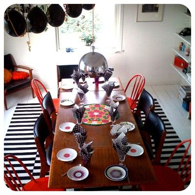 Red and black & white kitchen