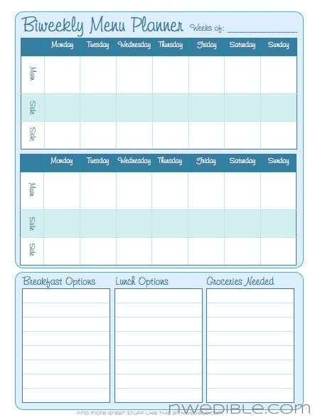 Biweekly Menu Planner