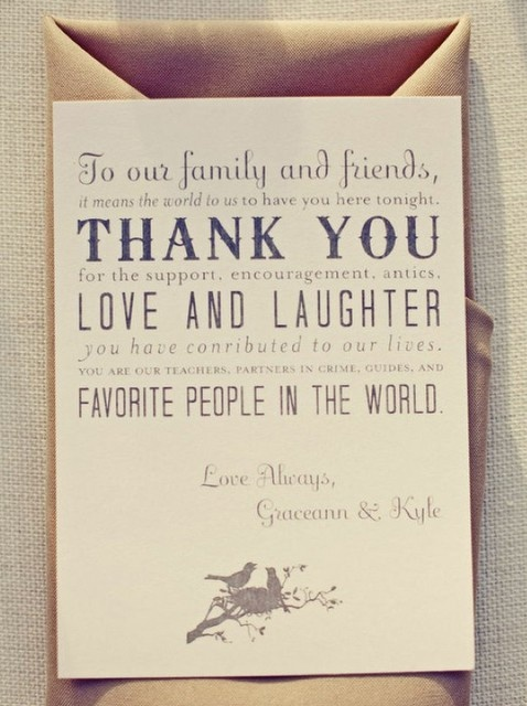 Thank You Gifts For Destination Wedding Guests : Reception thank you note. Connie & Joels Wedding Pinterest