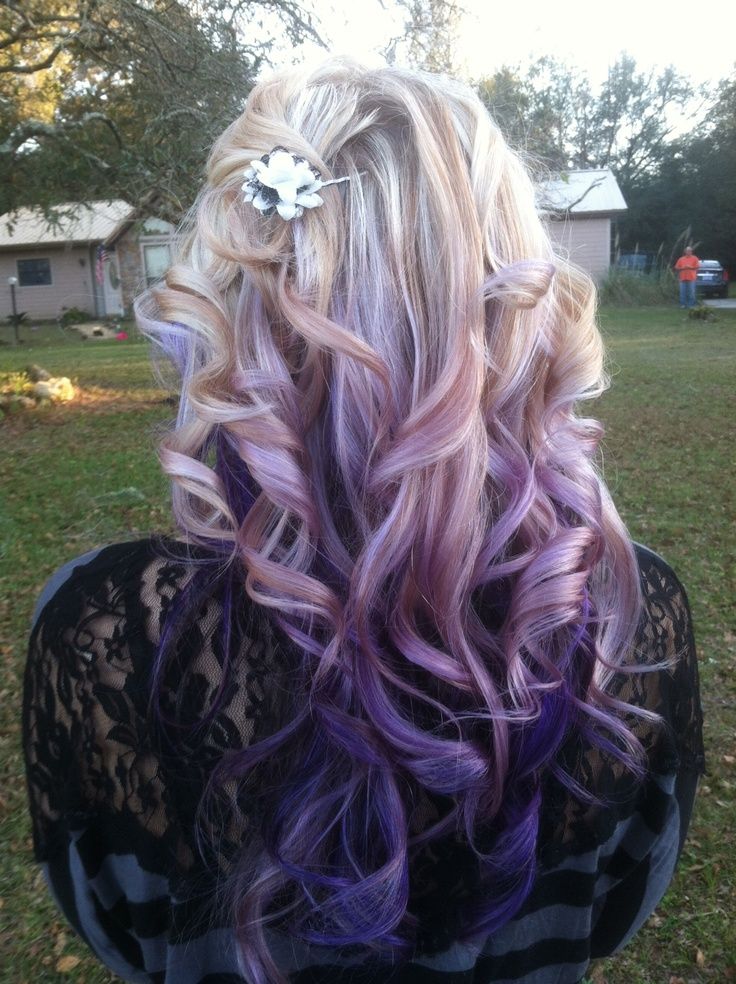Blonde Hair with Purple Lowlights