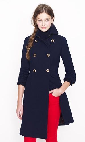 navy coat & red- J.Crew