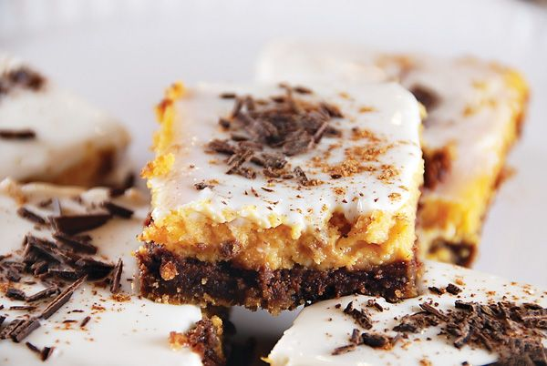 Layered Pumpkin-Chocolate Cheesecake Bars // Hostess with the Mostess ...