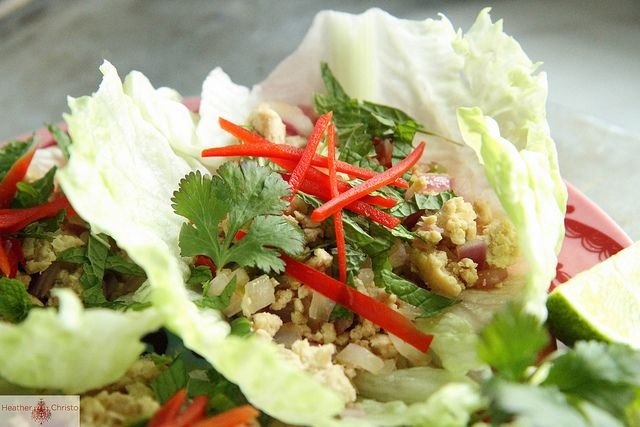 Thai Larb Chicken Lettuce Cups by Heather Christo, via Flickr