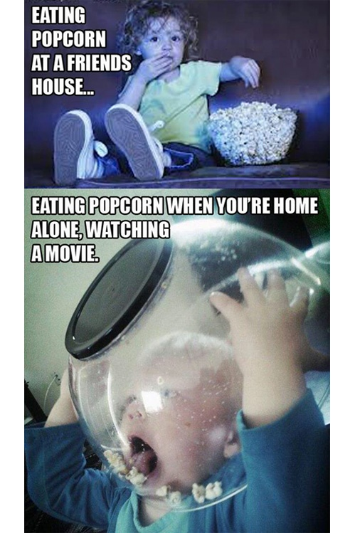 POPCORN eating at friend's vs home alone