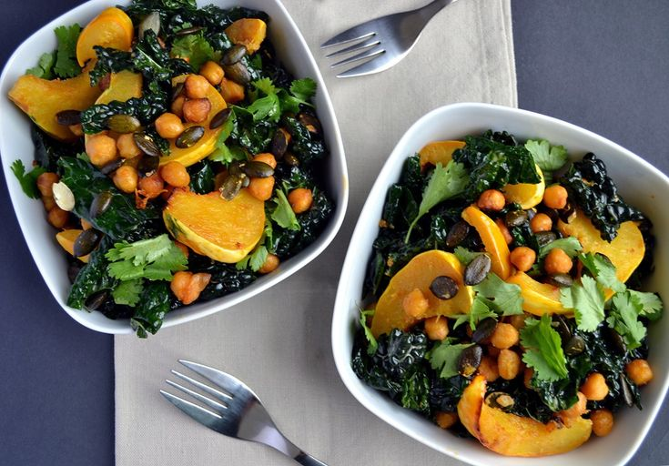 Miso-Curry Roasted Squash with Crispy Chickpeas & Kale - Coconut and ...