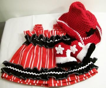 Gift Sets  Baby Girl on Baby Girl Cowboy Gift Set  Red White And       Crochet Baby Gift Sets
