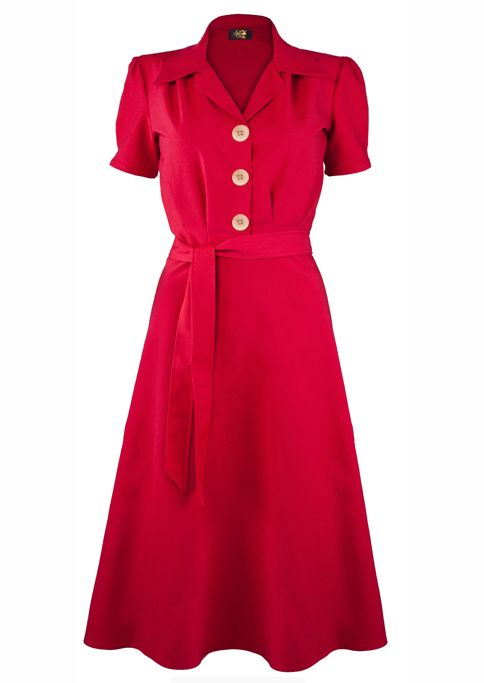 1940s Shirt Dress - Red - Fashion 1930s, 1940s & 1950s style - vintage ...