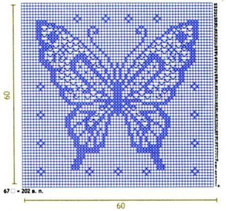 Filet crochet butterfly pattern