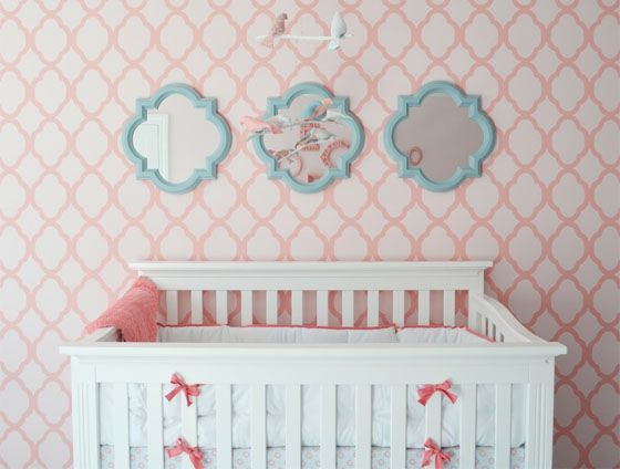 Geometric accent wall in this pink #nursery