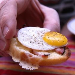 Mini croque madame sandwiches with ham, Gruyere, and quail eggs -- the ...