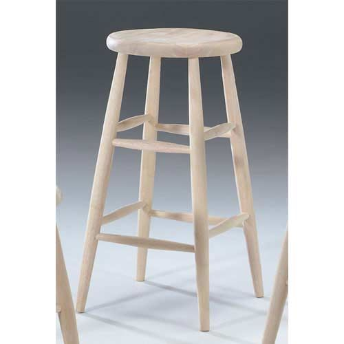 30 Inch Unfinished Wood Scooped Seat Stool International