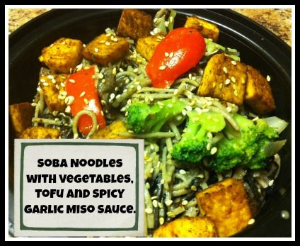 ... noodles with veggies and tofu tossed in a spicy garlic miso dressing
