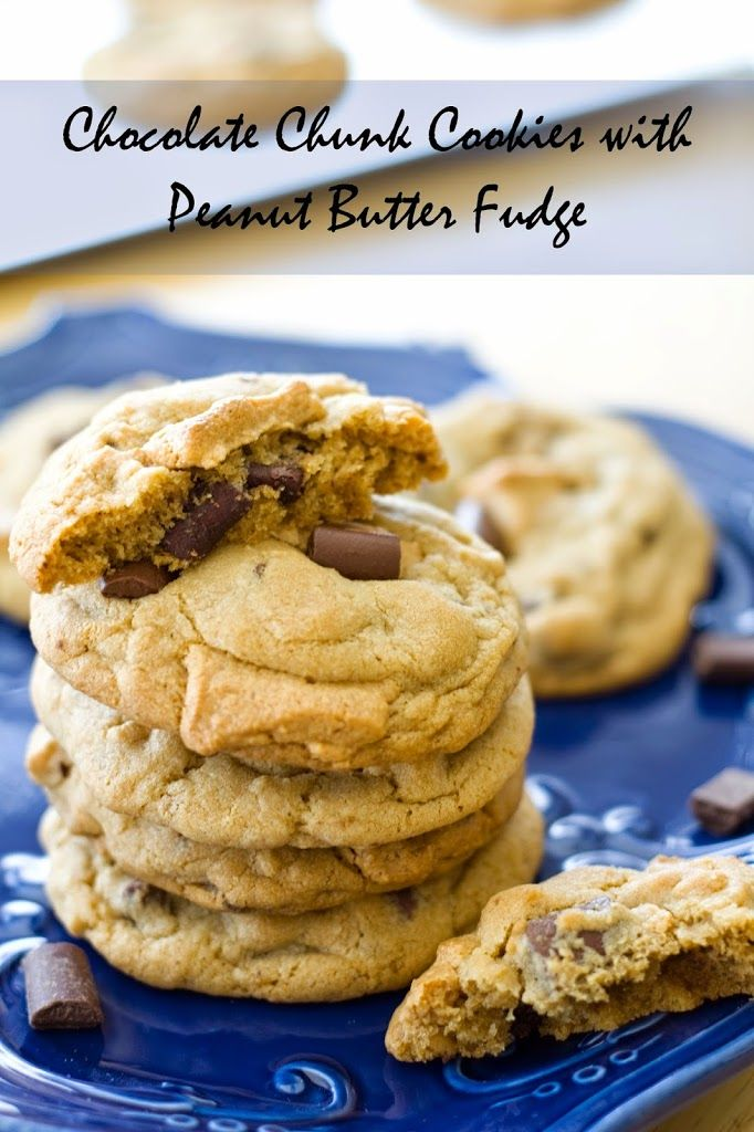 Chocolate Chunk Cookies with Peanut Butter Fudge | Recipe