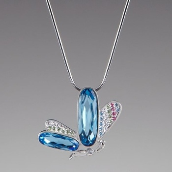 Aqua Crystal Butterfly Pendant Necklace by Lenox from Lenox on Catalog Spree, my personal digital mall.