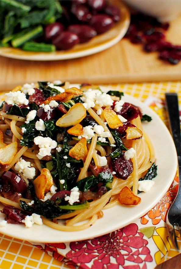 Pasta with Toasted Garlic, Dried Cranberries, Kale, Kalamata Olives ...