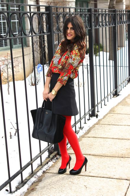 One of my favorite outfits colored tights tights women's fashion