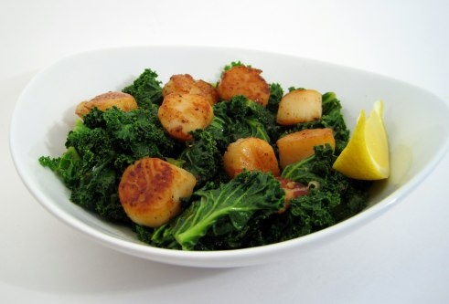 seared scallops over wilted greens | Scallops...I Love Em! | Pinterest
