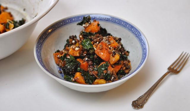 Two Blue Lemons: Warm Butternut Squash, Kale & Lentil Salad