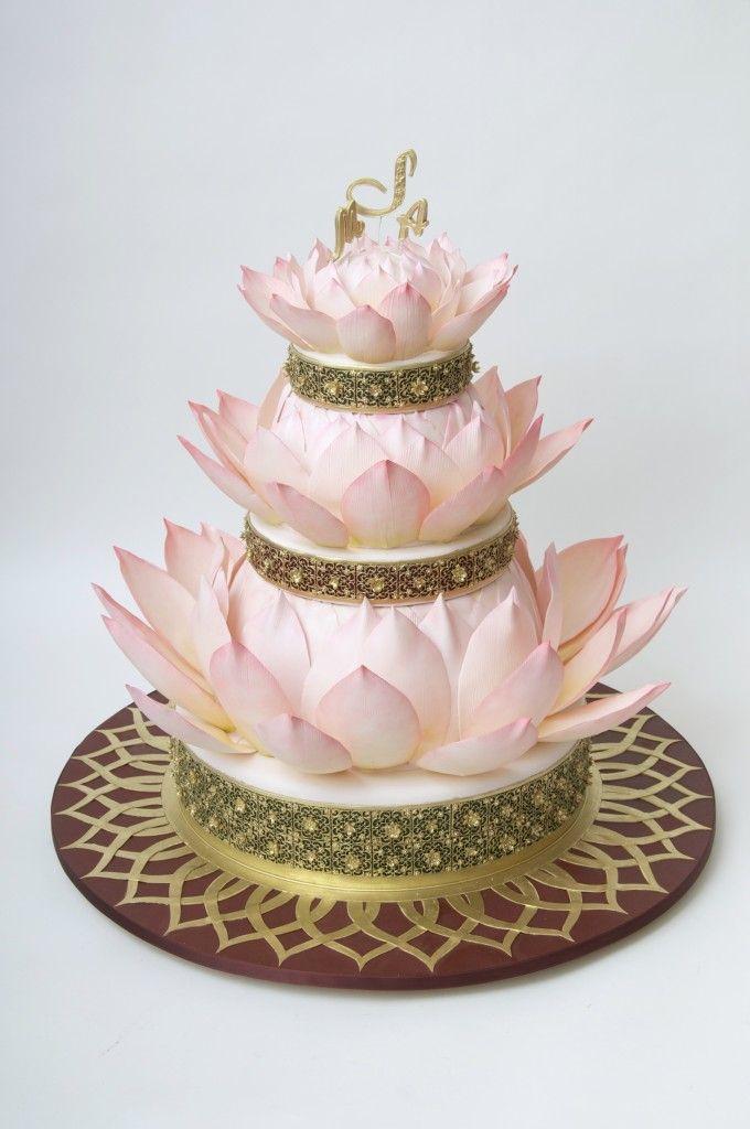 Red Lotus Cake Design : ron-ben israel lotus wedding cake Cakes Pinterest