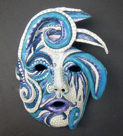 How to make a paper mache mask decoration technique sculpt pint - Masque papier mache ...