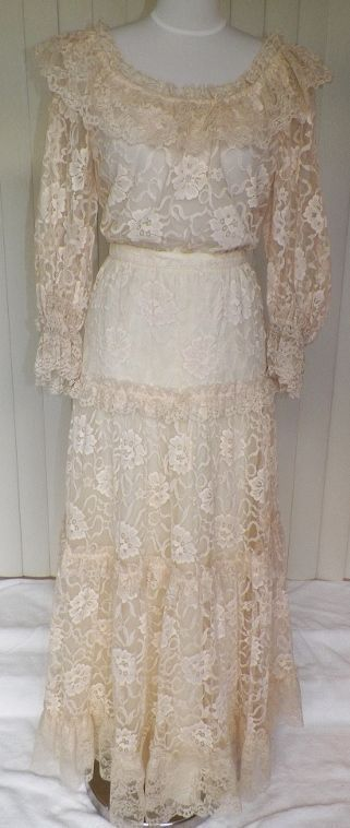 1970s Two-Piece Victorian/Edwardian Style Ivory Wedding Dress by Janesca Capri.