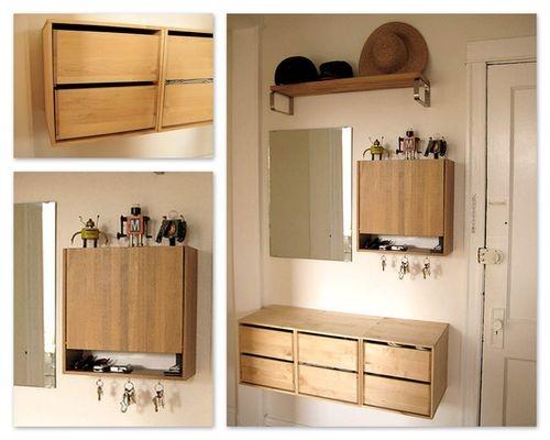 Entryway idea floating storage entryway ideas pinterest for Foyer storage ideas