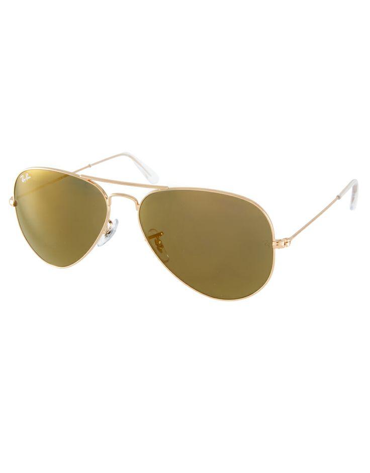Ray-Ban Crystal Gold Mirrored Aviator Sunglasses