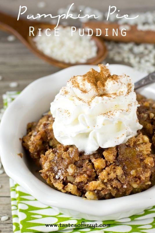 Pumpkin Pie Rice Pudding >> by Tastes of Lizzy T's. Combine pumpkin...