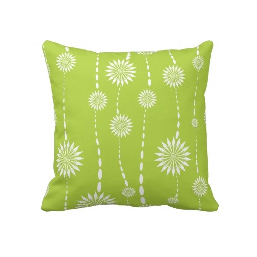 Throw Pillows Linen : Modern Lime Green Floral Decorative Throw Pillow