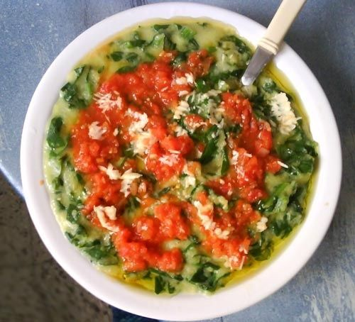 ... Recipe: Valentina's polenta with spinach, soft cheese and tomatoes