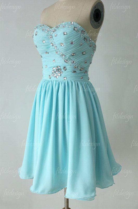 Baby blue prom dress short prom dress chiffon prom dress