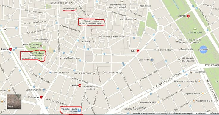 MAP - with MUVIM, Museo Ceramica - train station & Mercado ! :-)