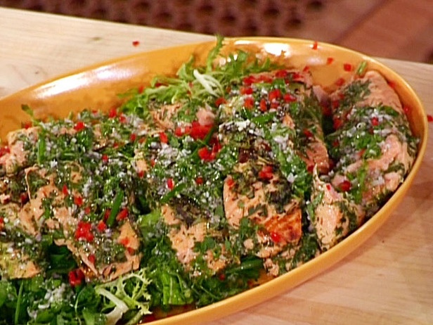 ... Pan Roast of Salmon with Warm Greens and Herb Vinaigrette | Re
