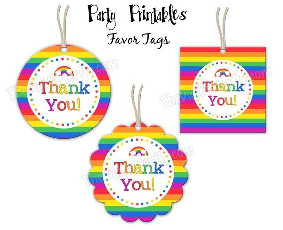 Printable thank you tags ella s unicorn party pinterest