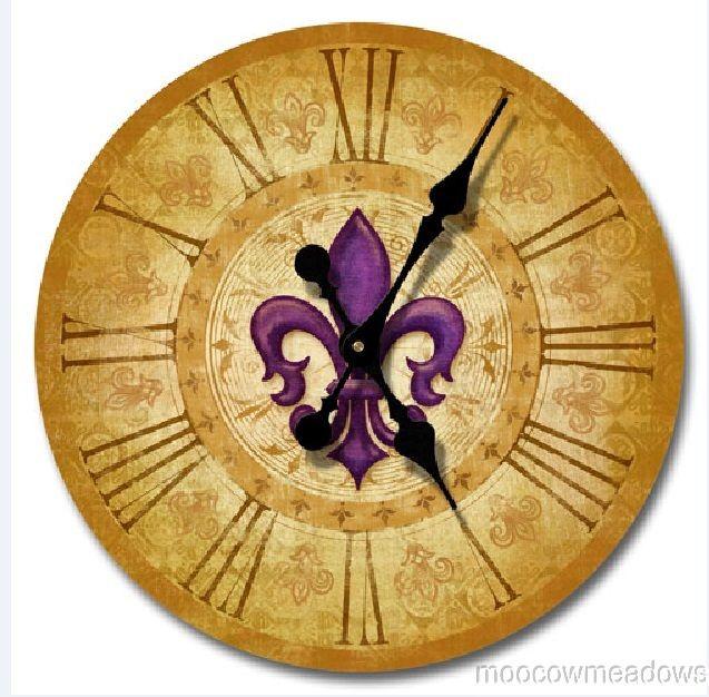 Mardi gras bedroom decor fleur de lis french wall clock