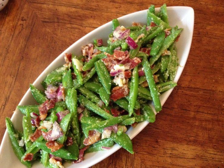 sugar snap pea salad with pancetta and pecorino
