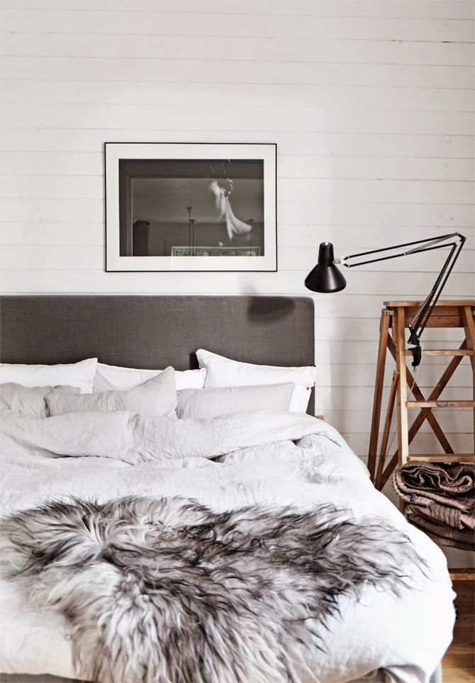 gray and white bedroom.