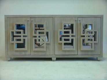 Sidney Limed Oak Buffet With Four Doors With Clear Mirrored Inserts