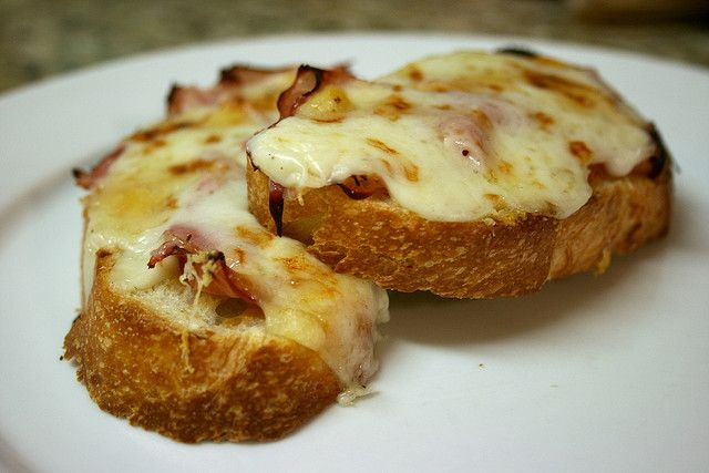 Croque Monsieur I'd serve it with a salad. add a poached egg on top ...