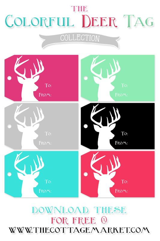 Free Deer Printable Gift Tags from The Cottage Market #christmas #gifttag