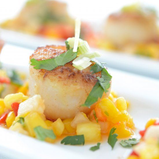 Pan Seared Sea Scallops w/ Mango Salsa is a great light dish for the ...
