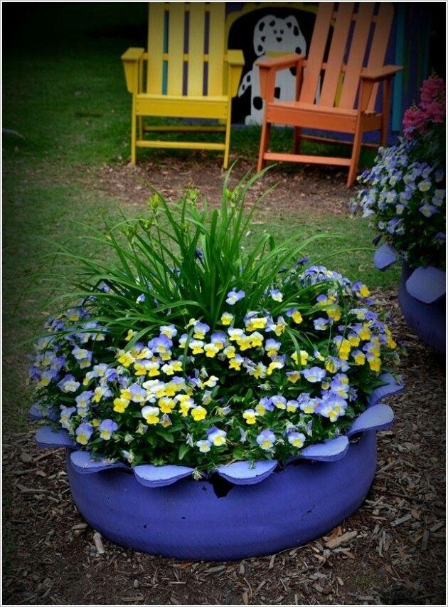 Tire planter outdoor garden ideas pinterest for Using tyres as planters