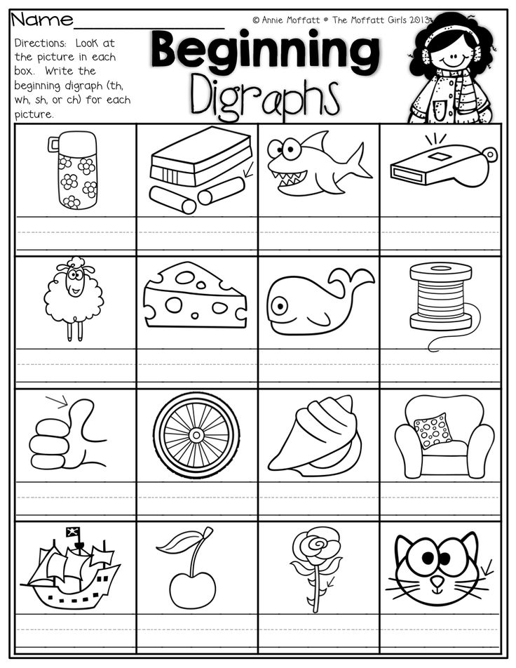 ... ! Write the beginning digraphs for each picture (th, wh, sh or ch