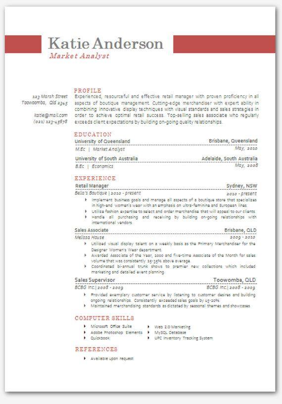 modern microsoft word resume template katie anderson 03