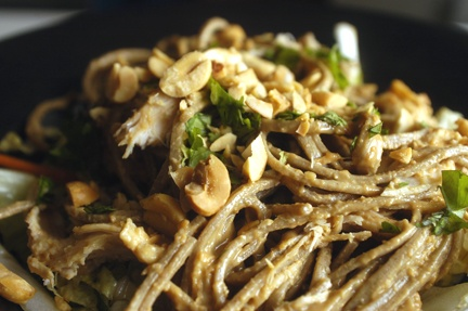 Asian Chicken Salad with Soba Noodles and Peanut Sauce. This ...